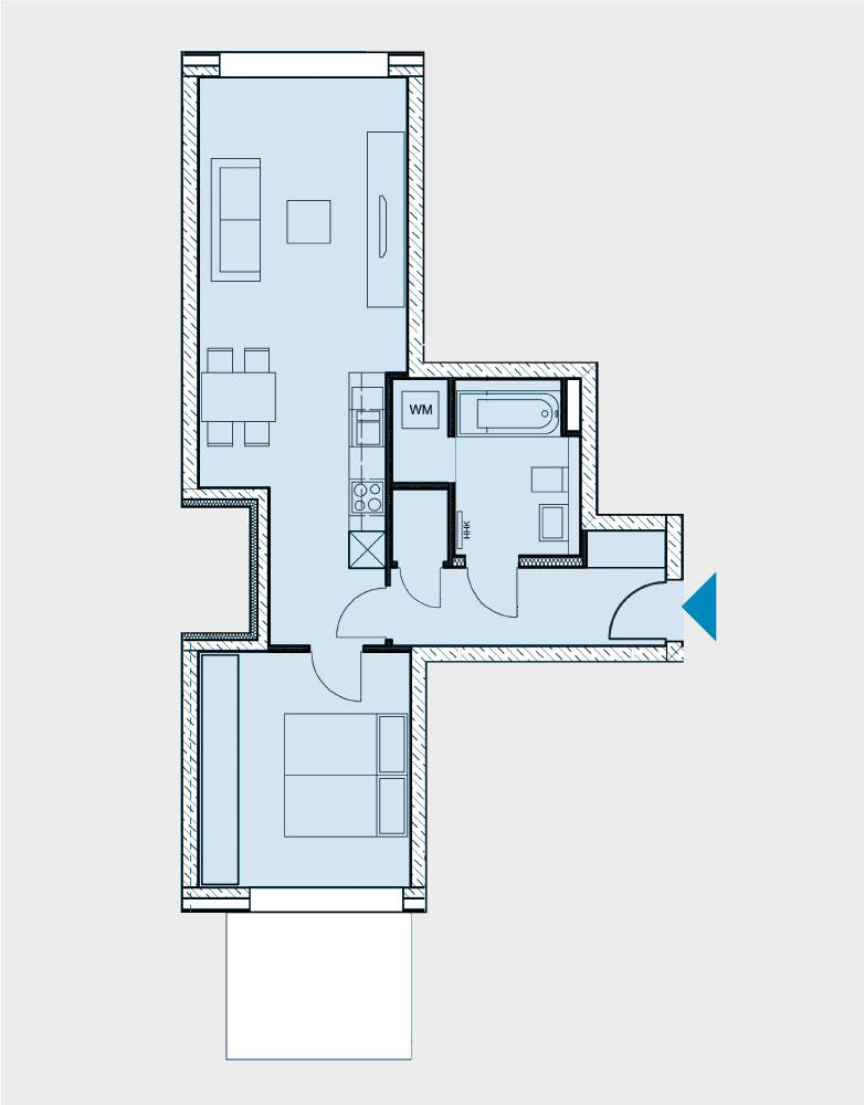 Grundriss Wohnung 055-B2-West