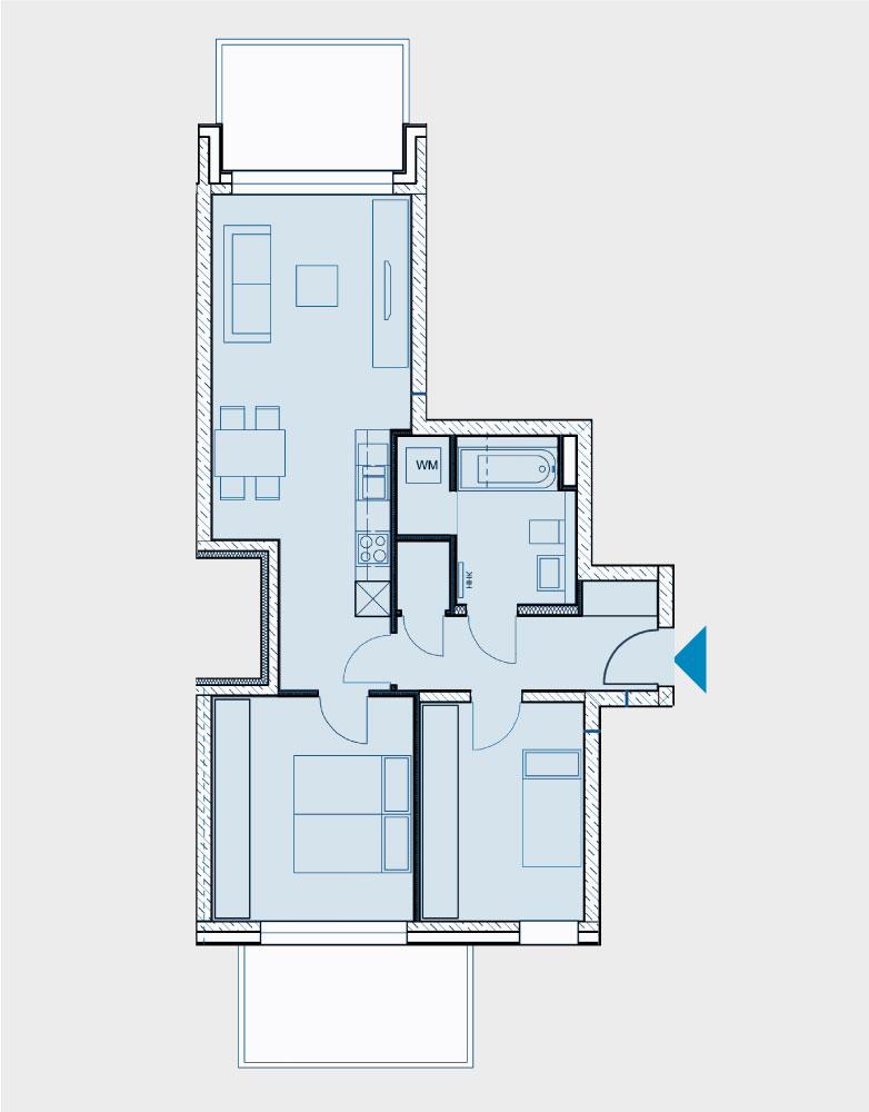 Grundriss Wohnung 060-B2-West