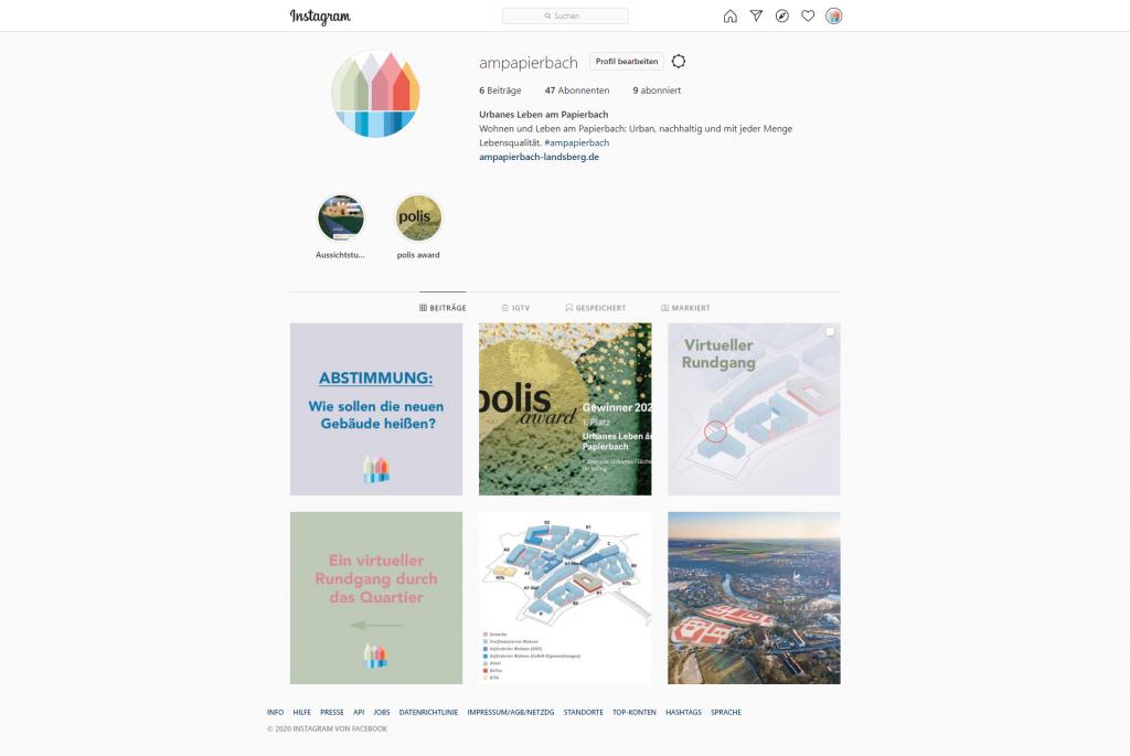 Das Urbane Leben am Papierbach auf Instagram